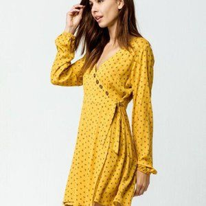 SKY AND SPARROW Button Front Wrap Dress